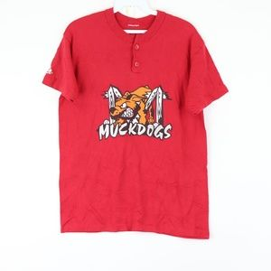 Majestic Mens Small Batavia Muckdogs T Shirt Red